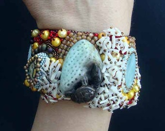 """FREE SHIPPING Bead Embroidery Cuff   """"Turtle""""  Bracelet"""