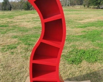 FREE SHIPPING, Handmade 6FT curved bookshelf,Bright Red