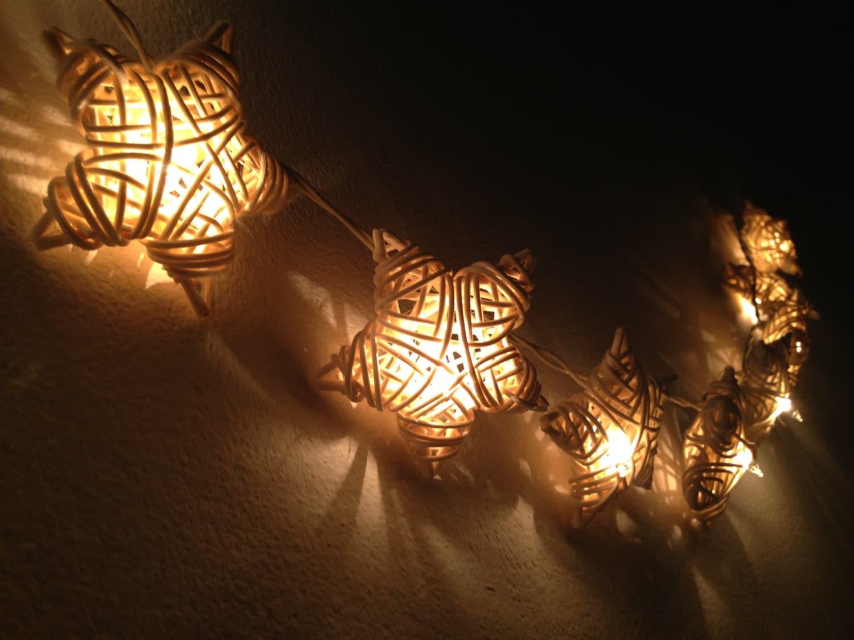 String Lights Stars : 35 Bulbs White Star Rattan string lights for