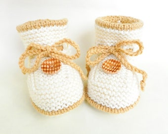 Knitted baby booties, woolen baby booties, woolen baby shoes, natural color baby shoes,  READY TO SHIP