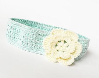 Crocheted baby headband, crochet cotton headband,mint headband, hair accessories, headband with  flower,  READY TO SHIP
