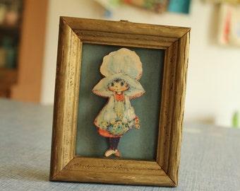 Vintage Paper 3D Framed Art~Holly Hobby Bonnet, Flowers, Folk Art CUTE
