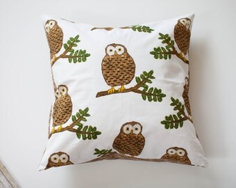 "Owl Pillow Decorative Cover with Invisible Zipper - 20""x20"""