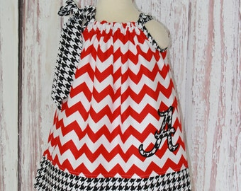Red Chevron & Houndstooth Alabama Roll Tide Pillowcase Dress