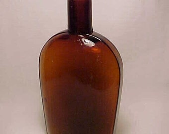 c1880s One Pint Amber Strap Side Blown Glass Whiskey Flask No. 9