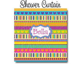 "Custom Personalized Monogram Shower Curtain - You Choose Size , 70"" x 70"", 70"" x 90"", or ANY size Stripes Rainbow"