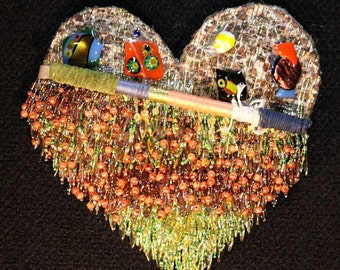 Beaded, Fused-Glass, Totem Heart Wall Art