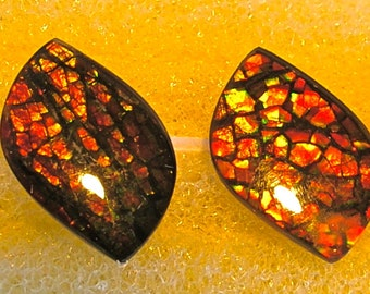 2 Ammolite Cabochons with a good match of color for Earrings