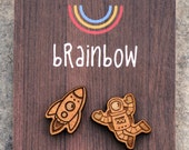 Wooden Astronaut and Rocket Earrings
