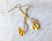Shimmery Metallic Gold Dipped Origami Leaf Earrings