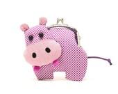 Little romantic purple hippo clutch purse