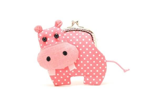 Little romantic pink hippo clutch purse
