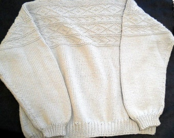Baby Blue Hand Knit Acrylic Yarn Boatneck Sweater with a Design Acrros the top and Sleeves