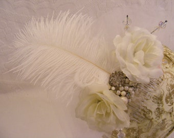 White Bridal Hair Comb, Hair Fascinator, Flowers, Feathers and Vintage Jewelry