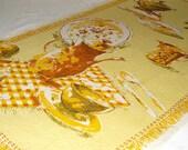 Vintage 1970's Cotton Linen Printed Kitchen Towel