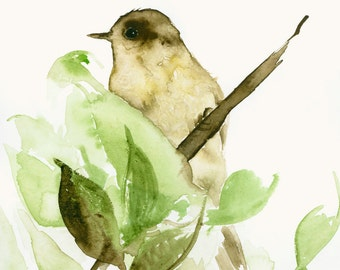 Original Watercolor Painting Little Brown Bird and Leaves