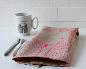 Neon Owl tea towel - Screenprinted linen dishcloth