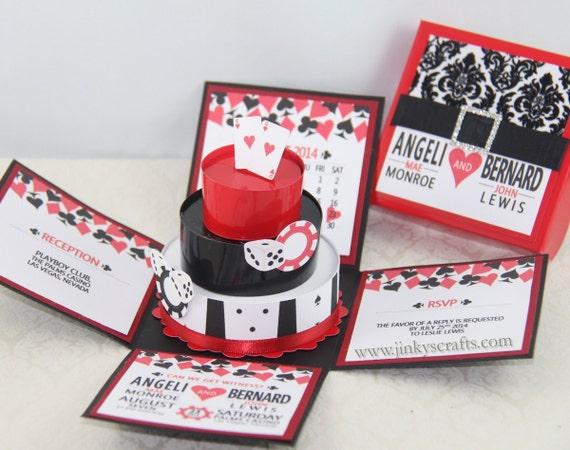 las vegas casino themed exploding box invitation w 3 tier cake deposit only - Mariage Las Vegas Validit