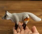 Needle Felted Grey Fox with Rust Orange Moth Soft Sculpture, Autumn, Fall, Winter, Silver Fox, Home decor, Woodland Animal, Miniature Fox