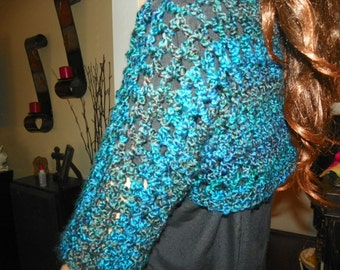 Cropped Sweater Stunning Silky Blue  Sizes Small-XXLarge  Hand Crochet