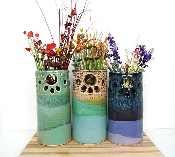 "10"" Vase, Handmade Wheel-Thrown with Pierced Rim"