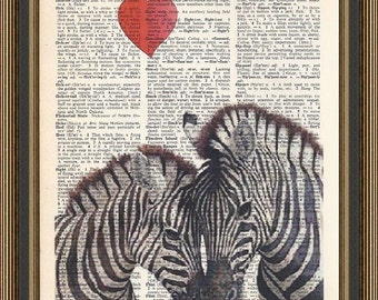 Zebras and heart illustration beautifully printed on a vintage upcycled dictionary page. Art Decor, Home Decor.