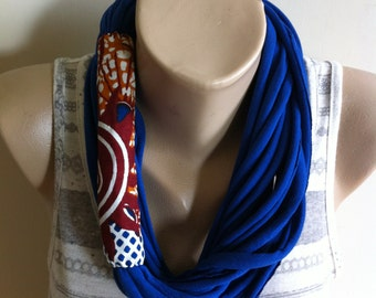 Scarf Necklace- Blue & African Wax Fabric Scarflace