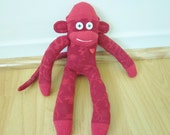 Fancy red sock monkey toy - mini sock monkey doll - dark red with floral pattern