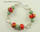 Bracelet of Olive with Red Flowers