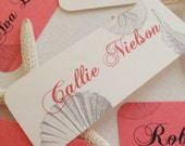 Coral Favor Tags Place Cards Sea Shells Escort Cards - Wedding - Quince - Bat Mitzvah - Beach Theme