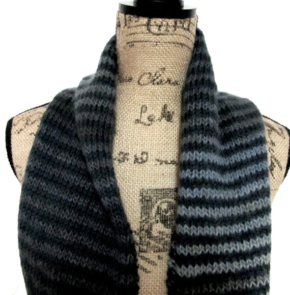 Charcoal gray&multi colored striped wool infinity scarf