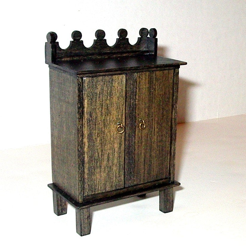 Rustic Cabinet Medieval Dollhouse Miniature 1/12 Scale