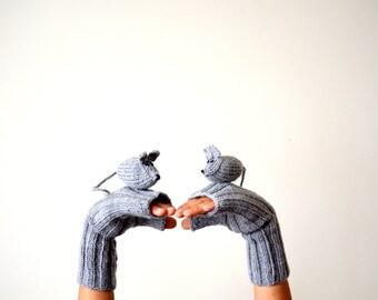 Last minute discount// Original Design Cute Rat  gloves, mice gloves, fingerless gloves , gift, birthday, boy, girl