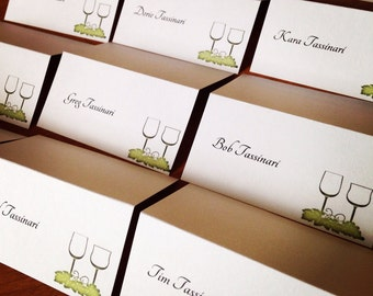 Wine Theme Name Cards, Customize, Vineyard Wedding Reception Name Cards for Guests, Tented Place Cards for Winery Wedding, Several Colors