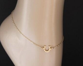 Gold Horseshoe Anklet, Horseshoe Anklet, Ankle Bracelet, Anklet Jewelry, Ankle Chain, Ankle Jewelry, Gift Idea, Horseshoe, For Her, BeadXS