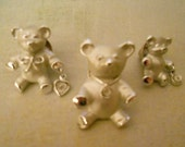 Giusti Bear Brooch Pins - Set of Three Matte Satin Silver - Two Holding Heart and Circle charms