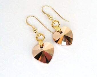 Rose Gold Heart Earrings, Gold Filled Earrings, Bright Copper Crystal Swarovski Heart Dangle Earrings, Elegant Heart Jewelry
