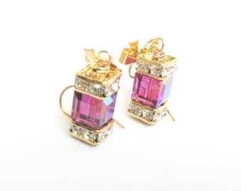 Fuchsia Earrings, Deep Pink Crystal Cube Earrings with Rhinestones, Dark Pink Cube and Bow Earrings, Elegant Swarovski Crystal Jewelry