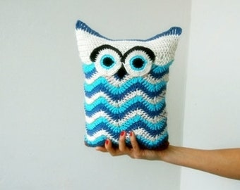 Crochet pattern, owl pillow, owl soft toy , crochet chevron ripples pillow pattern, Instant download PDF
