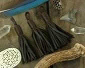 "Bark / Brown Moroccan Leather Tassel 3 3/4"" /Tribal Designer-Quality Leather Fringe /1 Tassel /Jewelry Supply, Decor, Charm"