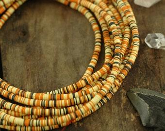 Autumn Mix African Vinyl Record Beads / Bright Orange, Yellow, Black /4x.5mm / Fun Fall, Halloween Fashion, Jewelry Making, Craft Supplies