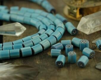 Antique Blue Flower Millefiore Cane Glass Beads 9x8mm, 6 beads / Ghana, Italian, Rare / Tribal Craft, Jewelry Making Supplies / Nautical