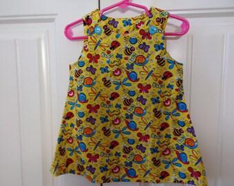 Little Girls' Bugs and Butterflies Dress Size 2T