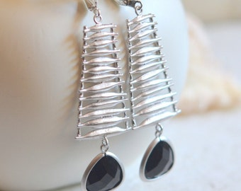 Black and Silver Statement Earrings.  Dangle Earrings with Silver Washboard and Black Stones.  Jewelry Gift.  Dangle Earrings.  Jewelry.