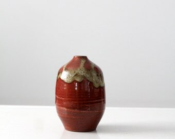 mid-century vase, red and gold ceramic vessel, bud vase