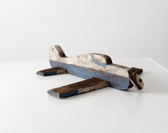 vintage wood airplane, rustic toy, wooden aeroplane