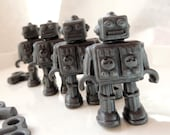 4 ROBOT SOAPS - Robots with wind-up keys - Custom Colored -  Kids Soaps - Fruit Scented - Party Favors