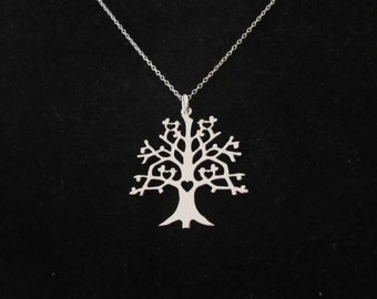 TREE of LIFE with birds and hearts sterling silver pendant and necklace chain, organic, nature, woodland jewelry
