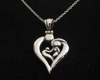 FAMILY of four HEART sterling silver pendant with chain necklace, mother, father and kids necklace