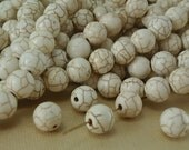 8 Stone Beads Real Howlite Ivory Bone color 10mm Round with Brown Veins Natural Beads
